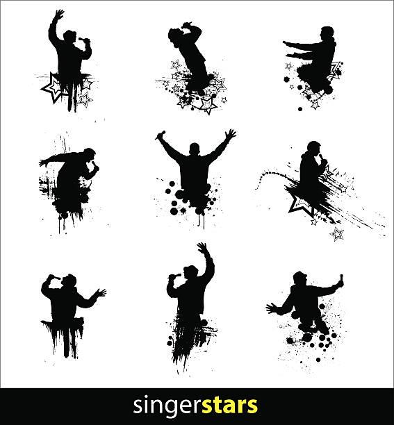 stockillustraties, clipart, cartoons en iconen met silhouettes for banners - zanger
