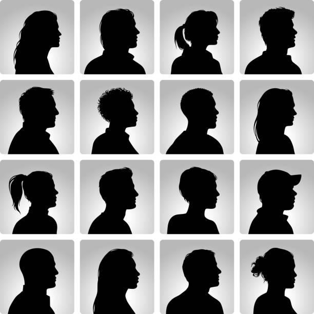 stockillustraties, clipart, cartoons en iconen met silhouettes heads set - menselijk hoofd