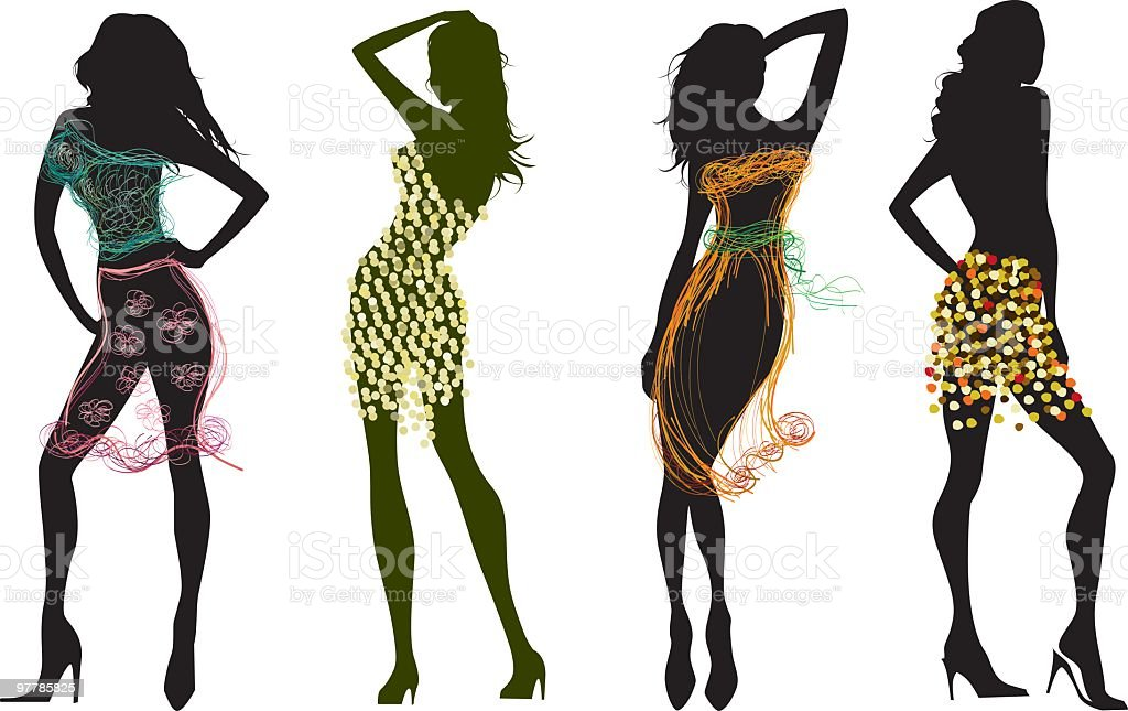silhouettes in sketchy styled clohes vector art illustration
