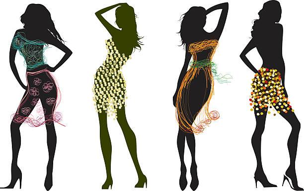 silhouetten in skizzierte stil clohes - couture stock-grafiken, -clipart, -cartoons und -symbole