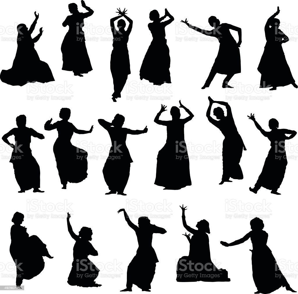 Siluetas de bailarines de India - ilustración de arte vectorial