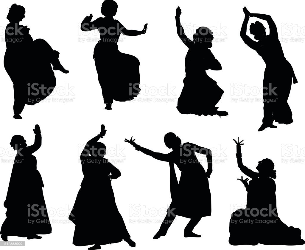 silhouettes indian dancers vector art illustration