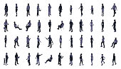 Silhouettes of isometric people include men, women, and children dressed for work and recreation. People walk, stand, sit, and perform a variety of activities. Use for architectural renderings, infographics, and illustrations. EPS vector and JPEG included.