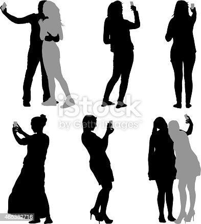 Silhouettes  man and woman taking selfie with smartphone on white background. Vector illustration.