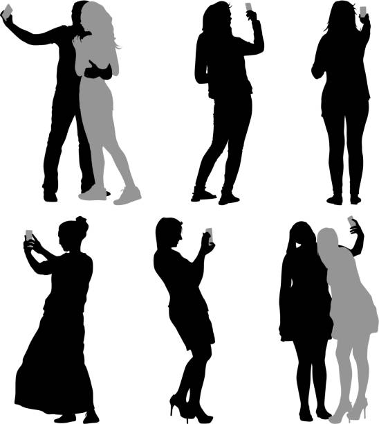 Silhouettes  man and woman taking selfie with smartphone vector art illustration