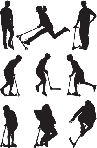 Silhouettes men playing on push scooters
