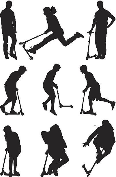 Silhouettes men playing on push scooters Silhouettes men playing on push scootershttp://www.twodozendesign.info/i/1.png stunt stock illustrations