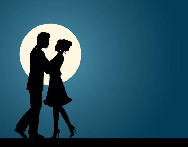 Silhouettes of a couple in love Silhouettes of loving men and women hugging each other and dancing against the background of the moon romance stock illustrations