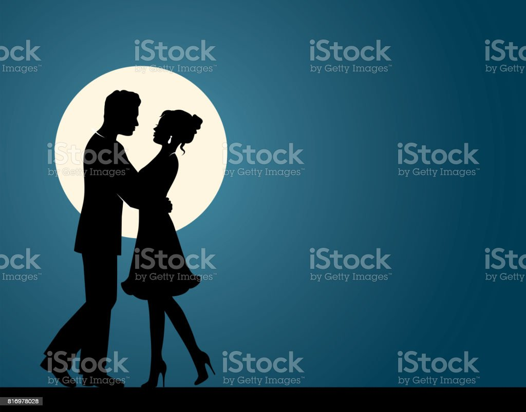 Silhouettes of a couple in love vector art illustration
