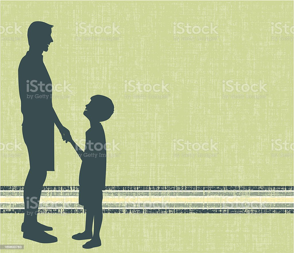 Silhouettes of a father and son vector art illustration