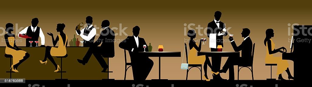 Silhouettes of a group of people holiday makers in a restaurant vector art illustration