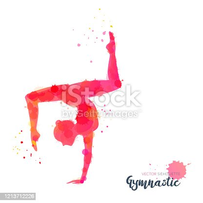 istock Silhouettes of a gymnastic girl. Vector watercolor illustration on white background 1213712226