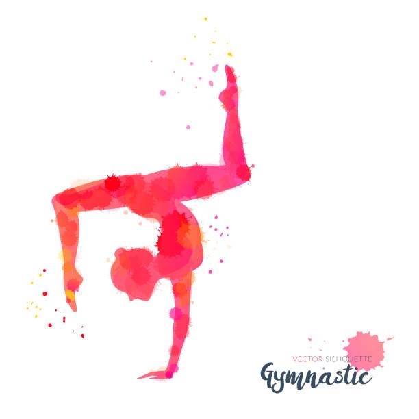 stockillustraties, clipart, cartoons en iconen met silhouetten van een gymnastiekmeisje. vector aquarel illustratie op witte achtergrond - gym