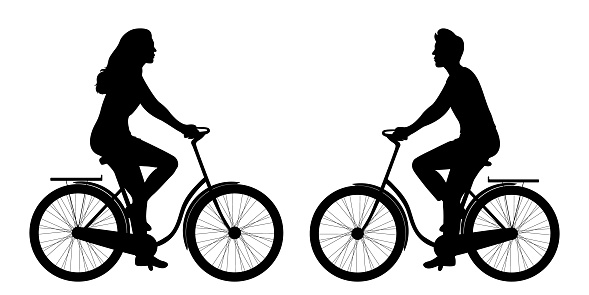 Silhouettes of a man and a woman on a bicycle isolated on a white background. Sports and outdoor activities. Healthy lifestyle. Vector illustration