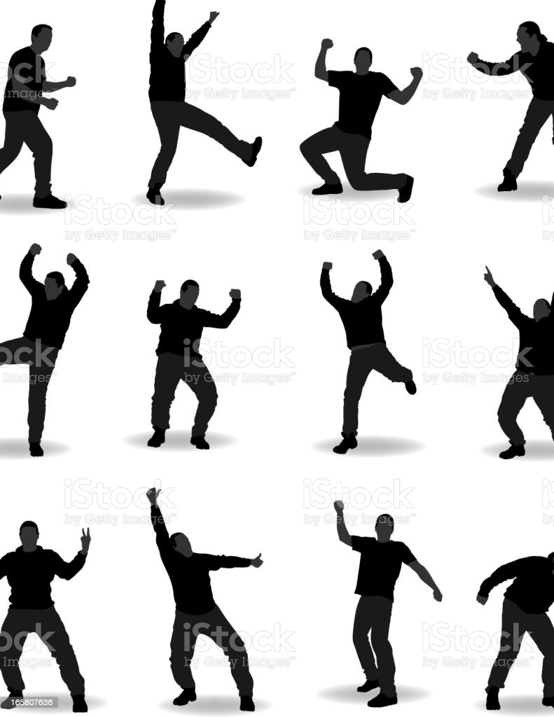 Silhouettes of a man doing various poses royalty-free stock vector art