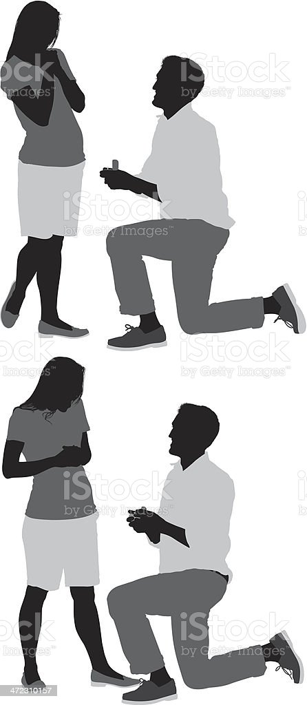 Silhouettes of a man proposing her girlfriend royalty-free stock vector art