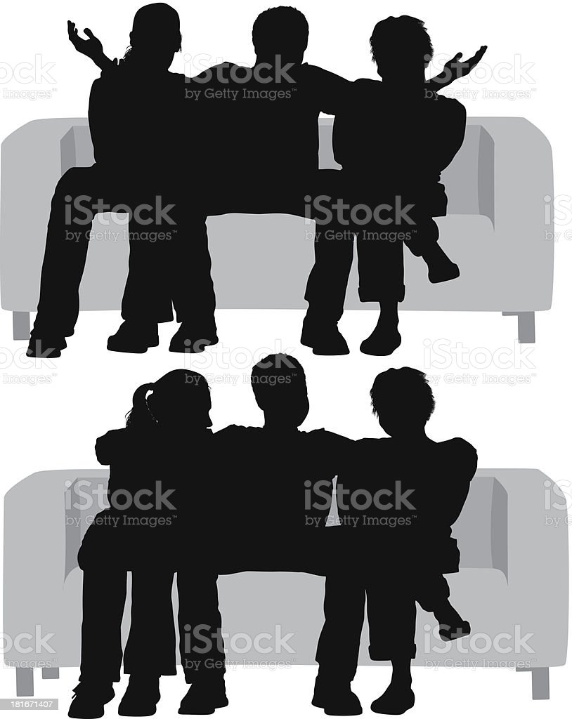 Silhouettes of a man sitting between women royalty-free stock vector art