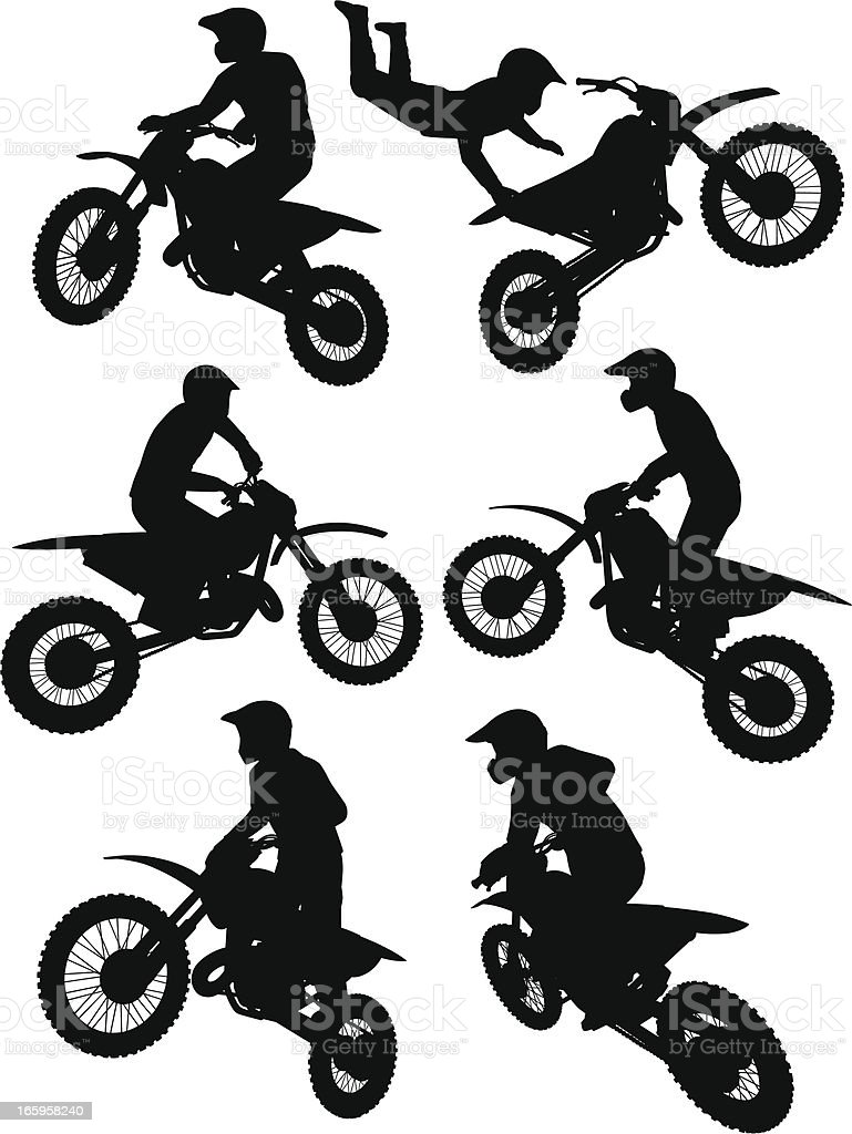 Silhouettes of a motocross rider performing stunts vector art illustration