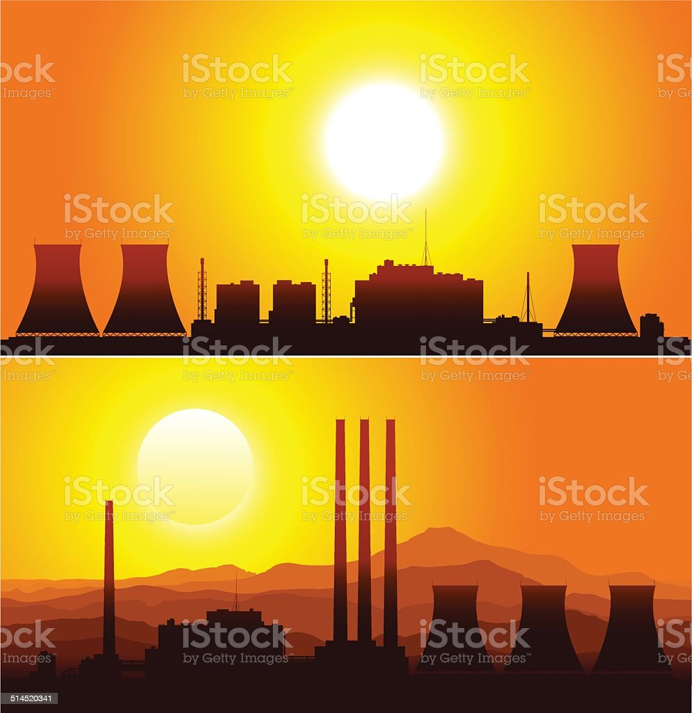 Silhouettes of a nuclear power plants at sunset. vector art illustration
