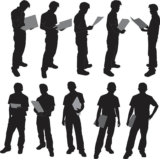 Silhouettes of a person holding folder a group of silhouettes of a man holding document(zip file contain Hi-red Jpeg,Eps8 file format.)  back lit stock illustrations