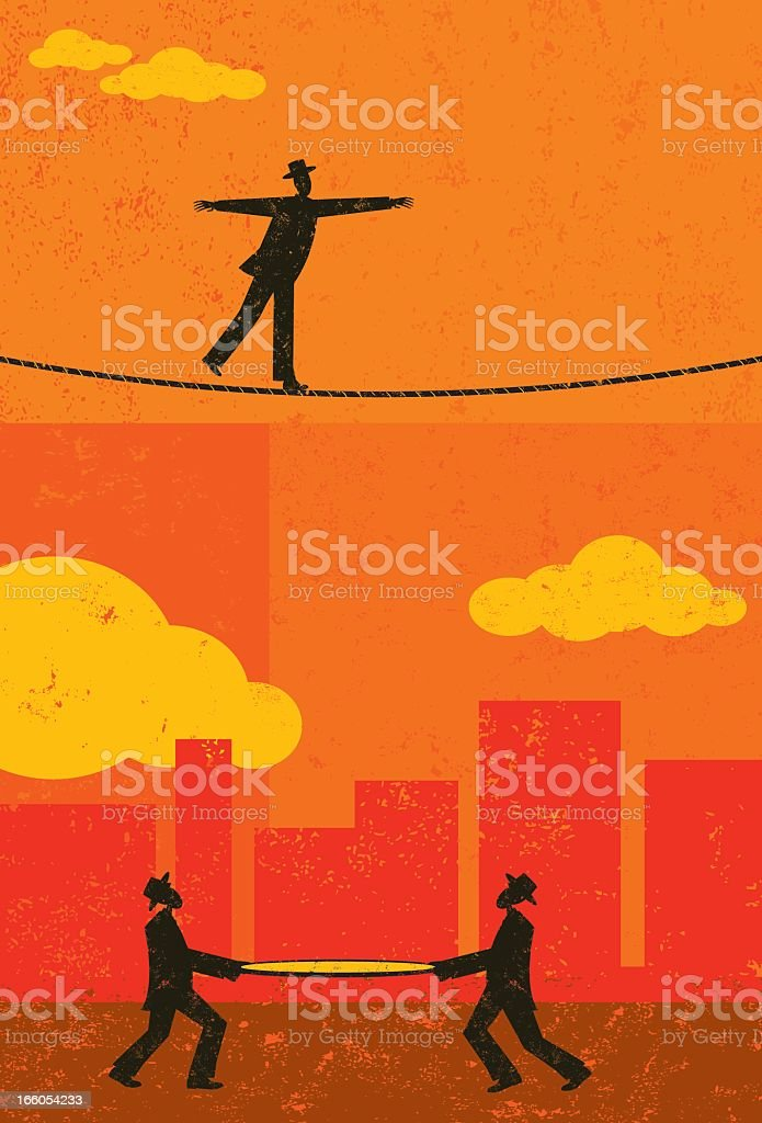 Silhouettes of a tightrope walker secured by a safety net royalty-free stock vector art