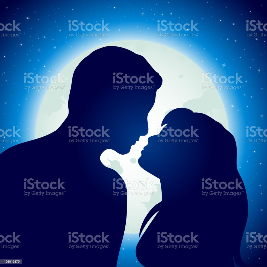 Silhouettes of a young man and woman over the moon and stars vector art illustration
