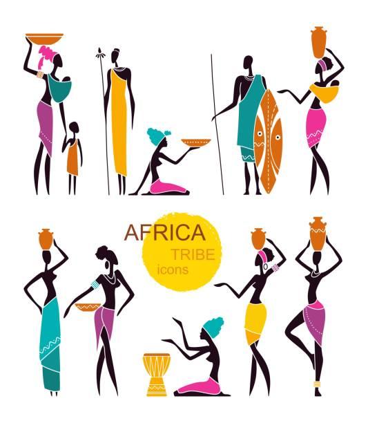 illustrazioni stock, clip art, cartoni animati e icone di tendenza di silhouettes of african men and women with children in traditional clothing - bambine africa