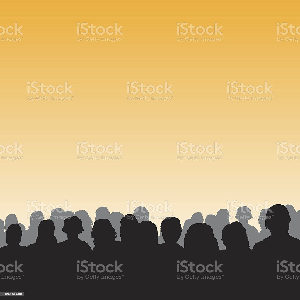 Silhouettes of audience on orange background royalty-free stock vector art