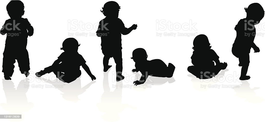 Silhouettes of babies and toddlers vector art illustration