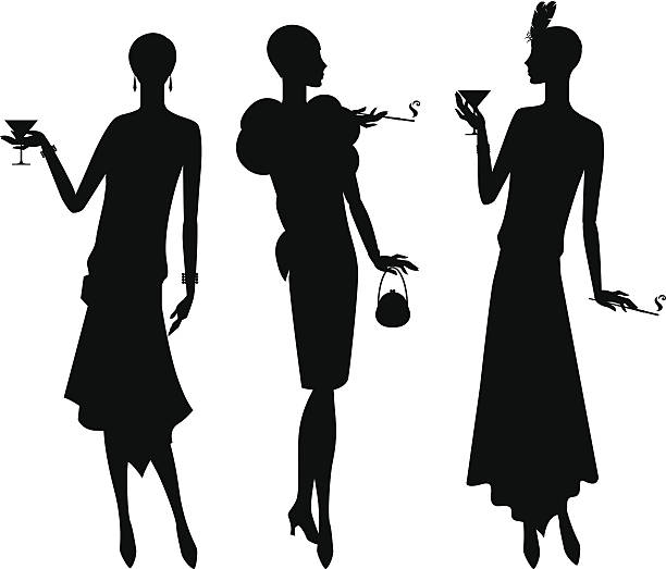silhouettes of beautiful girl 1920s style. - 1920s style stock illustrations, clip art, cartoons, & icons