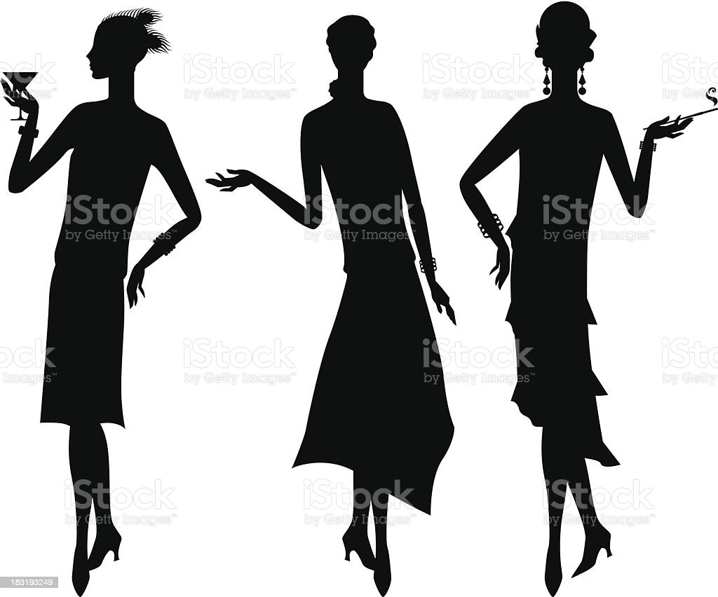 Silhouettes of beautiful girl 1920s style. royalty-free stock vector art