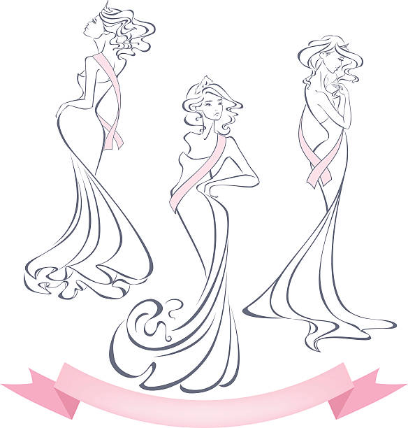 Silhouettes of beautiful girls in evening dresses with premium ribbons. vector art illustration