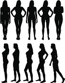 Silhouettes of beautiful woman body with different poses