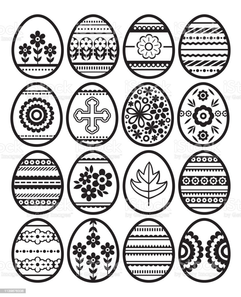 Silhouettes of black Easter eggs isolated on white background....