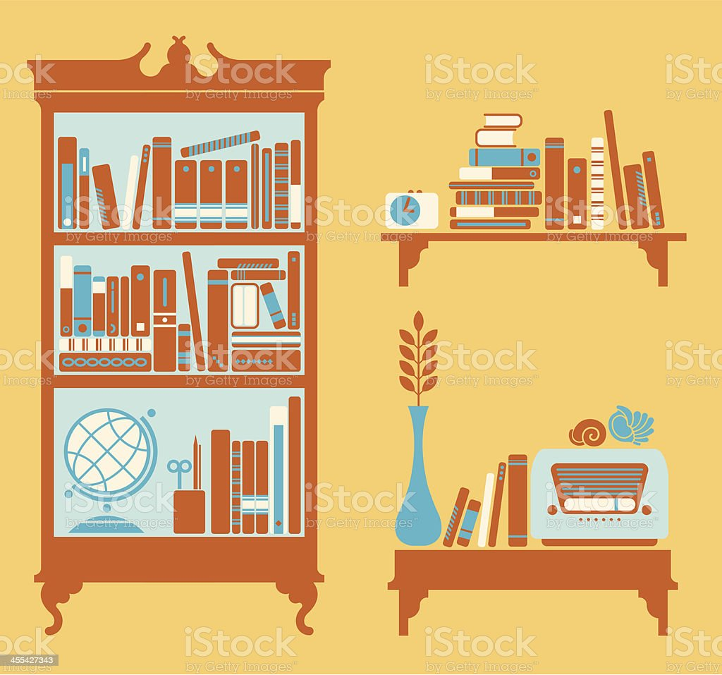Silhouettes of  book-shelfs royalty-free stock vector art
