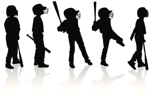 Silhouettes of Boys Playing Baseball