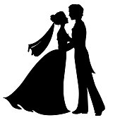 Silhouettes of bride and groom