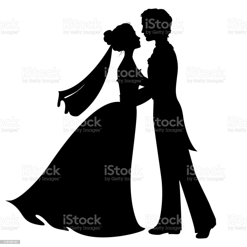 Silhouettes of bride and groom vector art illustration