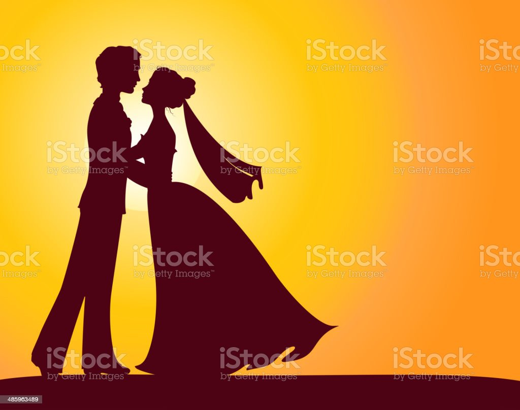 Silhouettes of bride and groom royalty-free stock vector art