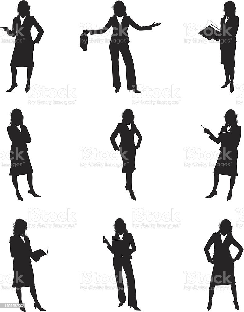 Silhouettes of businesswomen vector art illustration