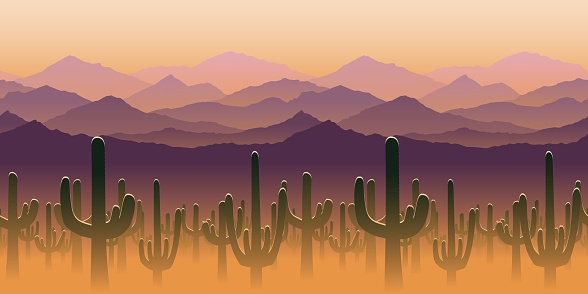 Silhouettes of cactus plant on background of mountains. Vector illustration