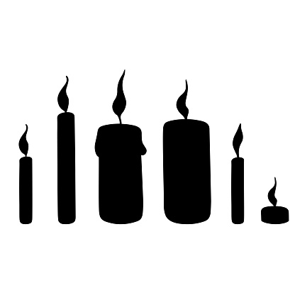 Silhouettes of candles Set