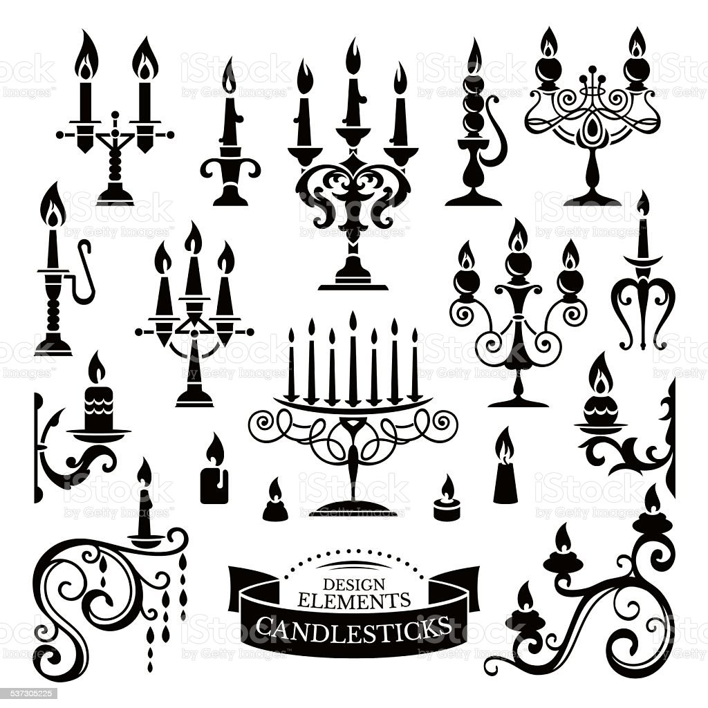 Silhouettes of candlesticks vector art illustration