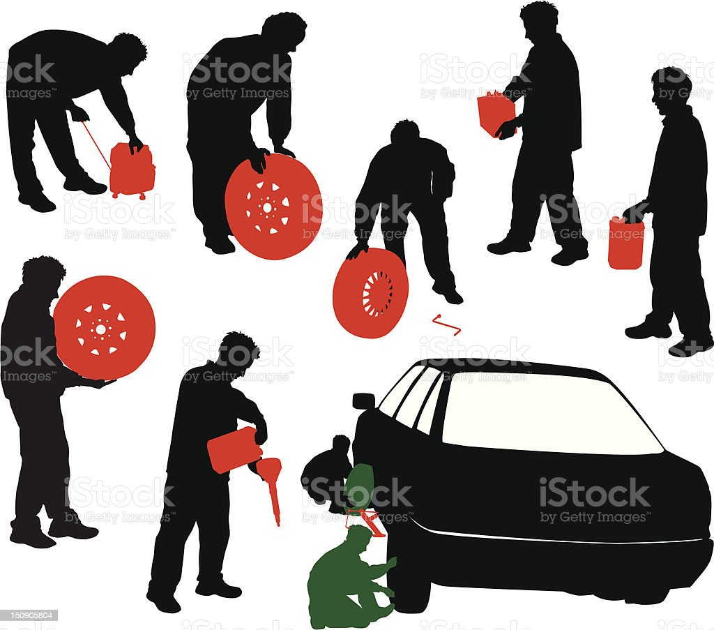 Silhouettes of car mechanics. vector art illustration