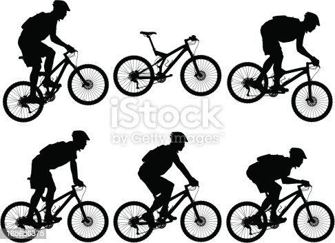 Vector illustration of carbon fiber full suspension mountain bike with riders.