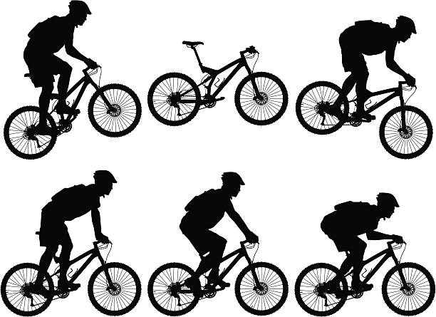 Silhouettes of carbon fiber full suspension mountain bike with cyclists Vector illustration of carbon fiber full suspension mountain bike with riders. mountain biking stock illustrations