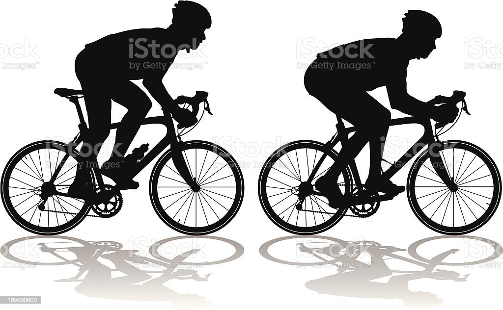 Silhouettes of carbon fiber racing bicycles with cyclists vector art illustration