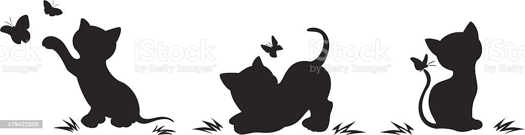 Silhouettes of cats with butterflies vector art illustration
