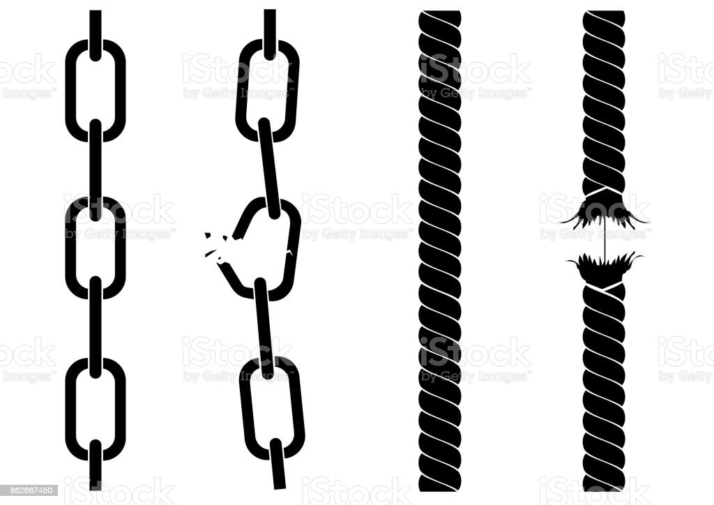 Silhouettes of chains and ropes vector art illustration