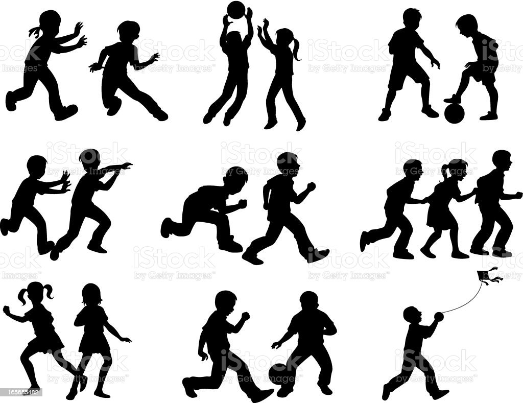 Silhouettes of children playing different games vector art illustration